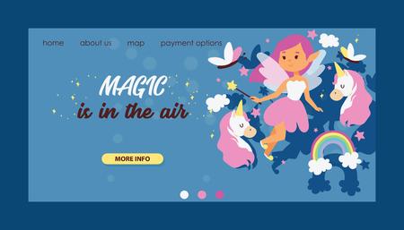 Fairy girl vector web landing page magic faery character and fantasy beautiful princess cartoon unicorn of fairy-tale in fairyland rainbow backdrop web-page illustration background.