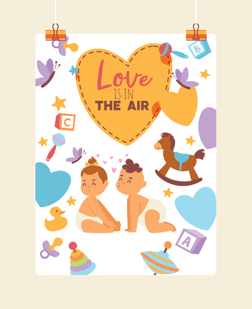 Kids vector children girl boy characters in first love backdrop cartoon loving baby illustration childhood friendship child playing kissing background card on valentines day.