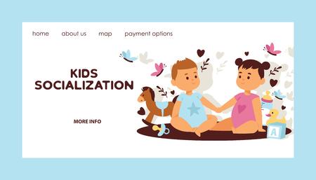 Kids vector web page children girl boy characters in first love backdrop cartoon loving baby illustration landing web-page childhood friendship child playing kissing background card on valentines day.