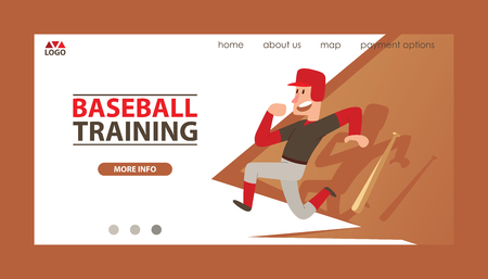 Baseball vector landing web page man catchers sportswear and batters baseballbat or ball for competition backdrop illustration sportsman boy character with catchers glove background web-page. Çizim
