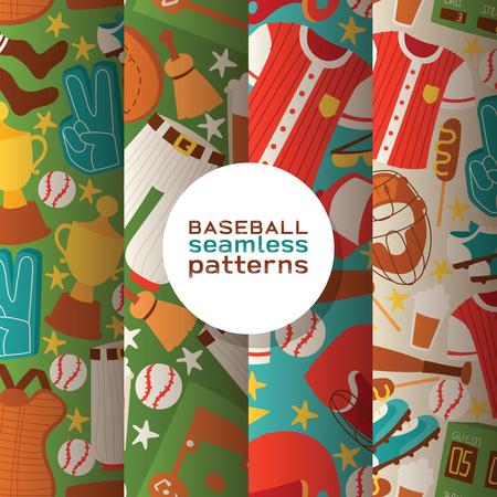 Béisbol vector de patrones sin fisuras los receptores de ropa deportiva y bateadores bate de béisbol o pelota para la ropa de deportista de ilustración de telón de fondo de competencia con fondo de guante de receptores establece la bandera.