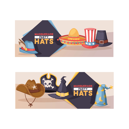 Cartoon hat pattern vector comic cap for carnival celebrating birthday party with headwear or head-dress pirate hat backdrop illustration set of funny witch or cowboy headgear background Stock Vector - 115488109