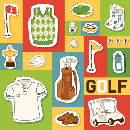 Golf vector seamless pattern golfers sportswear and golfball for playing in golfclub backdrop illustration set of sportsman golfing clothes background.