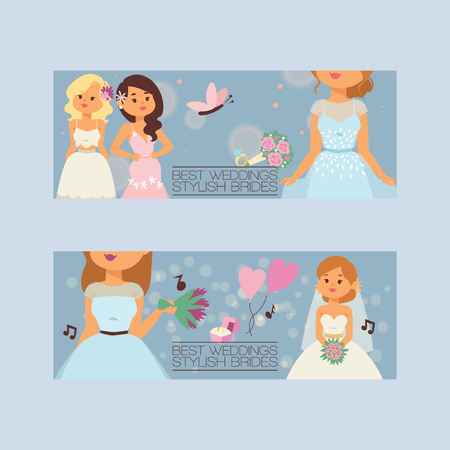 Bride vector bridesmaid woman character in wedding dresses wearing white dressing accessories and bridal celebration illustration backdrop set of marriageable girl in marriage dress background banner Illustration