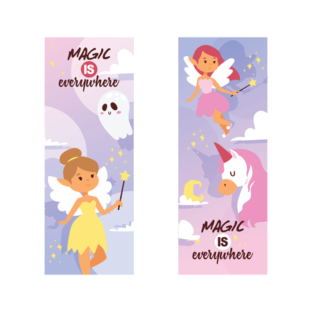Fairy girl vector magic faery character and fantasy beautiful princess cartoon unicorn of fairy-tale in fairyland backdrop illustration fairyism set of girlie faerie pixy with magic wings background.