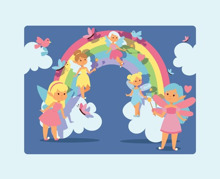 Fairy girl vector magic faery character and fantasy beautiful princess cartoon unicorn of fairy-tale in rainbow fairyland backdrop illustration of girlie faerie pixy with magic wings background.