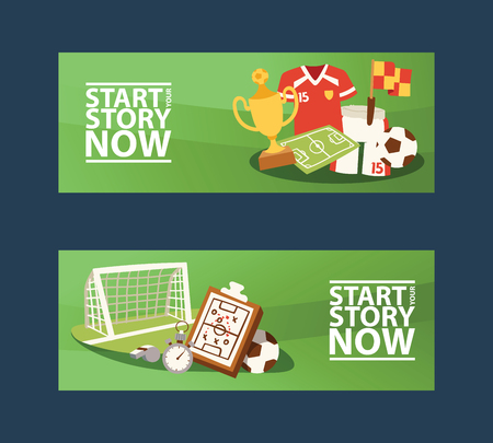 Footbal equipment banners vector illustration. Start your story now. Soccer club or sport team posters. College league tournament. Ball and goal with golden cup victory award.