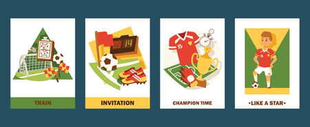 Football cards vector illustration set. Invitation for match or championship. Cartoon professional football player like a star. Champion time for winners in tournament. Training for sportsmen.