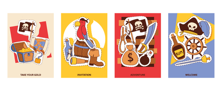Pirates invitation cards cartoon patches vector illustration. Pirates party equipment and supplies paper treasure, parrot anchor compass, knife rope sword map barrel.