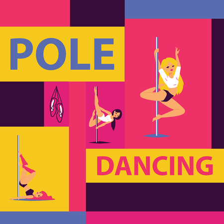 Pole dance school advertising poster with girls in various positions vector illustration. Strong and graceful females. Girls easily performing complex dance steps on pylon. Illustration