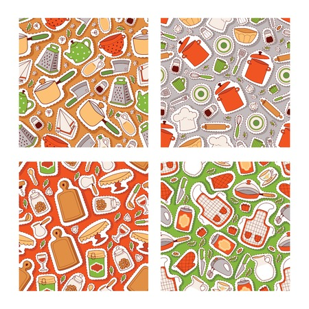 Kitchen elements seamless pattern. Cooking utencils icons vector illustration with apron, gloves, pan, pot, grater, bowl, mixer, knife, fork, ladle, wooden board, cookie jar, table. Çizim