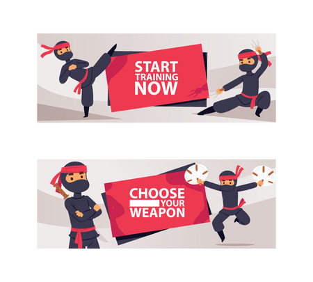 Ninja characters showing different actions vector illustration. Cartoon serious ninja with sword banners. Start training now. Choose your weapon. Men with nunchaku or karate sticks.
