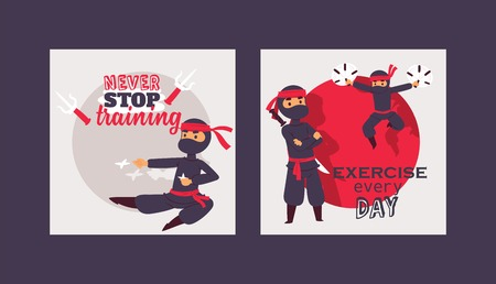 Ninja warrior vector illustration. Cartoon unbeatable character in various positions poster. Never stop training, exercise everyday concept. Fighters with different weapons. Illusztráció