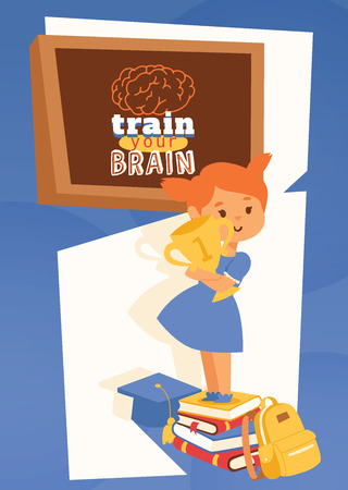 Girl with backpack supplies and learning accessories poster, banner vector illustration. Train your brain concept. Motivation for studying. Books, backpack and trophy, blackboard. School items. Stock Illustratie
