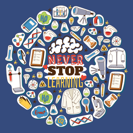 Never stop learning concept. Chemistry, biology and physics cartoon elements vector illustration. Science equipment stickers and patches background. Microscope, telescope, magnifier, tubes, glasses.