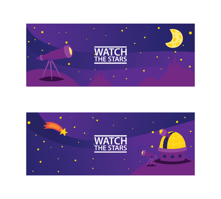 Watch the stars banners. Journey to space with stars, comets and planets vector illustration for cosmic party or for space exploration program. Discovering space with telescope. Standard-Bild - 115488121