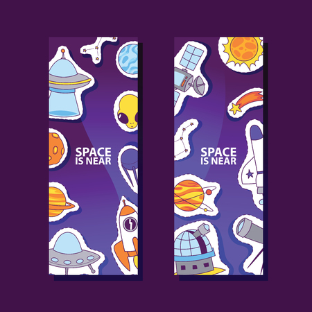 Space and planets stickers. Space is near poster, banner. Cartoon patches background. Exploring universe vector illustration. Rocket, telescope, alien and ufo spaceship.