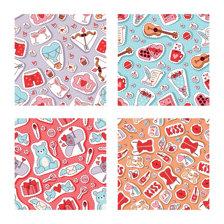 Valentines day vector illustration. Seamless pattern with hearts, bear toys, flowers, birds, arrows, romantic letters, sweets for fabric glasses with wine textile wrapping paper wallpaper. Ilustração