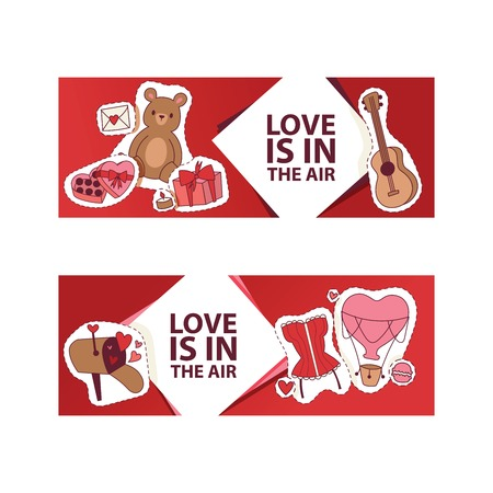 Valentines day vector illustration. Love is in the air banner, poster, flyer, brochure, gretting card with hearts bear toys gifts sweets guitar romantic letter stickers. For lovely couple.