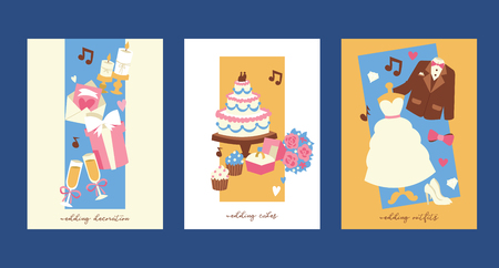 Wedding invitation cards vector illustration. Marriage decoration, cakes, outfits for bride and groom. jacket bow white dress shoes cupcakes, bunch of flowers, ring, glasses with champagne.
