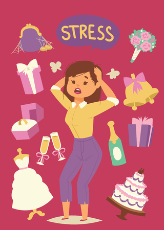 Wedding stress concept. Bride pulling her hair and making a stressful facial expression vector illustration. Cartoon nervous woman with headache because of stressors. Time and financial management.