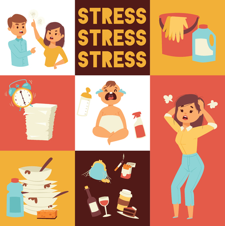 Motherhood, multi-tasking and family concept - tired mother having headache with baby at home. Housework, washing-up and office work. Bad habits. smoking and alcohol drinking. Time management. Illustration