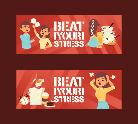 Mental health disorders and work related stress anxiety and depression symptoms icons vector illustration. Beat your stress concept banners. Angry Woman. Furious Girl. Negative Emotions. Bad Mood.