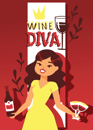 Wine lover banner vector illustration. Cartoon cheerful female character with curly hair in dress with bottle of red wine and glass. Wine diva having good time drinking wine poster, brochure. Иллюстрация