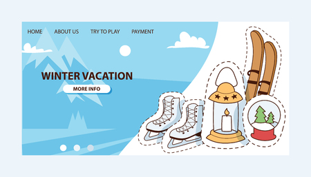 Winter vocation vector illustration. Ski, skates, candles, snow-globe badges, patches and stickers for website design with options. Home, payment, info. Mountains with snow and blue sky with clouds.