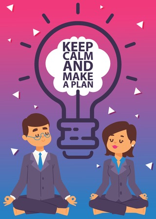 Strategy concept vector illustration. Business man and woman meditating in lotus pose. People doing yoga and getting calm. Keep calm and make a plan banner. Relax, meditation. Office workers.