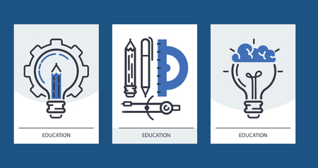 Education set of cards vector illustration. Online education, learning, learn to think. Pencil, pen, calipers, protractor, bulb with brains. Invitations for courses or classes. Stock Vector - 125983941