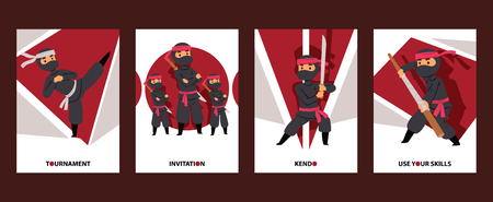 Ninja characters vector illustration. Ninja cartoon warrior with swords cards for tournament or classes invitation. Traditional school of martial arts. Kendo and Bojutsu. Use your skills. Ilustração