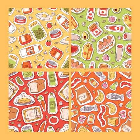 Modèle sans couture d'autocollants alimentaires. Patchs de gastronomie de dessin animé, illustration vectorielle de cuisine. Recettes alimentaires et couverture de livre de cuisine avec produits laitiers, légumes fruits poisson viande pain sucre jus.