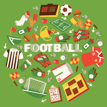 Football equipment vector illustration with field, ball, trophy, scoreboard, whistle, gloves, uniform, goal red and yellow cards stopwatch cleats food and drinks background poster banner. Illustration