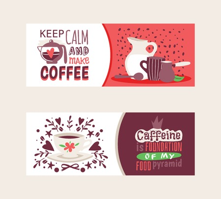 Coffee addiction banners vector illustration. Keep calm and make coffee. Coffeine is foundation of my food pyramid. Glass jar with milk, pot, mug and spoon surrounded by coffee beans banners.