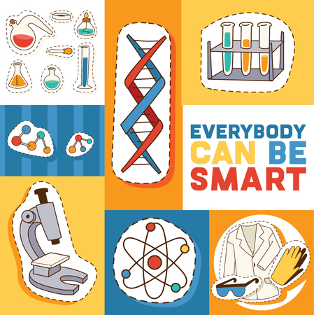 Education and science concept vector illustration. Motivatng text, everybody can be smart. Doind experiments in laboratory. Testing, Analysing samples. Cartoon equipment stickers and patches poster. Ilustracje wektorowe