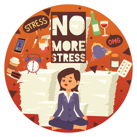 No more stress motivation background vector illustration. Young, calm, cartoon woman sittting and meditating. Female surrounded by different stressors. Financial and time management banner, poster.