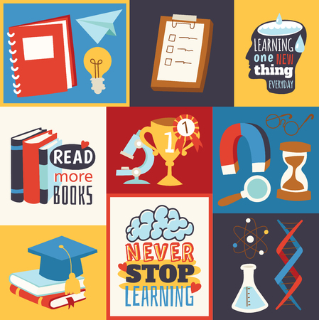 Never stop learning concept. Read more books. Learning one new thing every day. Chemistry, physics and sport cartoon elements vector illustration. Science equipment. Piles of books.