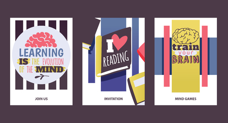 Studying concept. Learningis the evolution of the mind. I love reading. Train your brain. Motivation cards vector illustration. Join us. Invitation. Mind games. Literature. Interesting books.