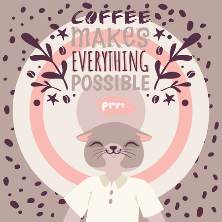 Coffee addiction banner vector illustration. Coffee makes everything possible. Cute cartoon character who loves hot drink. Cat in white T-shirt enjoying coffee surrounded by beans poster, brochure. Иллюстрация