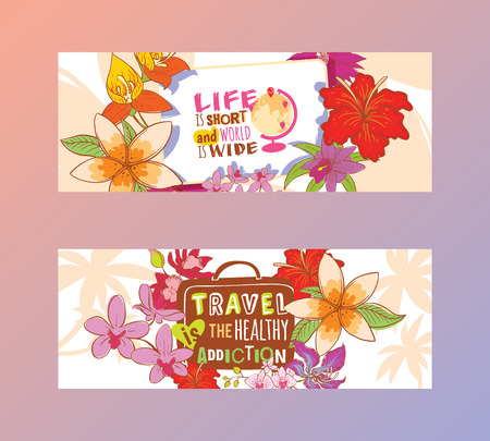 Travelling concept set of banners vector illustration. Life is short and world is wide. Travel is the healthy addiction. Globe with destinations and suitcase in flowery background. Motivation.