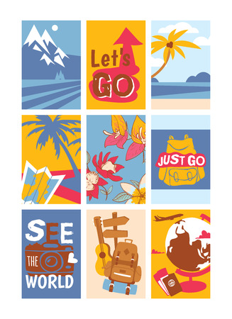 Travelling concept set of banners vector illustration. See the world. Just go. Let s go. Sunny beaches with palm trees with coconuts. Rucksack for travelers. Flight around world. Passport, globe.