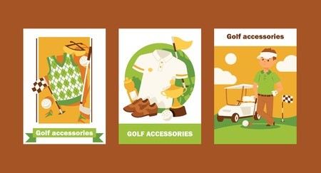 Golf vector golfers sportswear and golfball for playing in golfclub backdrop illustration set of sportsman golfing clothes background.