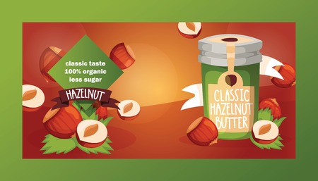 Nut vector nutshell of hazelnut with butter chocolate honey in glass jar set backdrop organic food nutrition with hazel nuts illustration diet background banner.