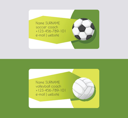 Sport vector business card football volleyball soccer competition background sportive equipment volley-ball on business-card backdrop for sport game backdrop wallpaper Illustration