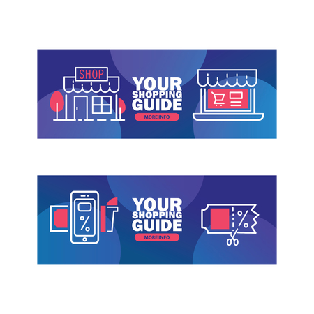 Your shopping guide vector illustration. Delivery, discount services banners. Shops and malls with advertising on window. Mobile application for sales and discounts. More information. Illustration