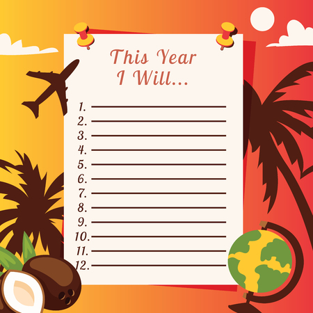 Travel list planner vector illustration with with palm trees, coconuts, glope and plane. Let s travel. To do list. Schedule design template. This year I will. Countries to visit banner. Çizim