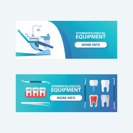 Dental, stomatological equipment set of banners vector illustration. Dentistry technology products, office professional tools, medical supplies. Cavities in teeth. Health and care. Иллюстрация