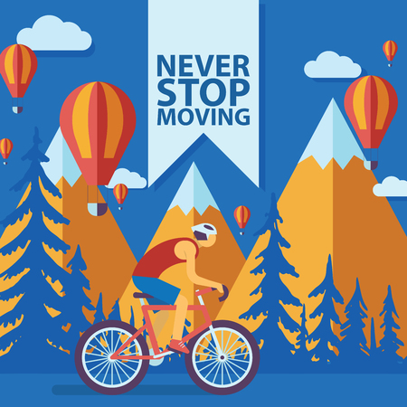Triathlon track vector illustration. Never stop moving concept banner, poster, brochure, flyer. Cartoon male cyclist riding a bike in mountains Road cycling, cycling tour. Illustration