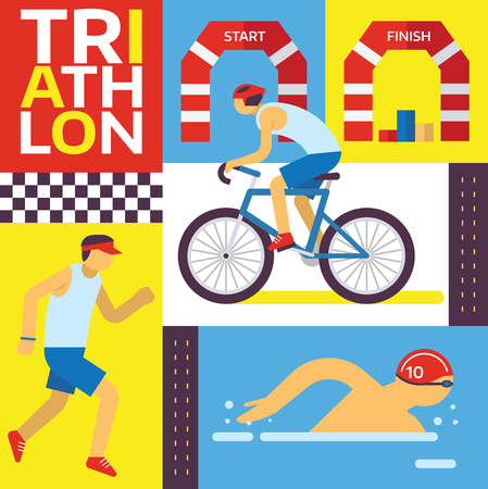 Triathlon track vector illustration. Swimming, riding, running banner. Fast sportsman in triathlon competition, exercise sport concept set. Healthy lifestyle. Fit and strong male characters.